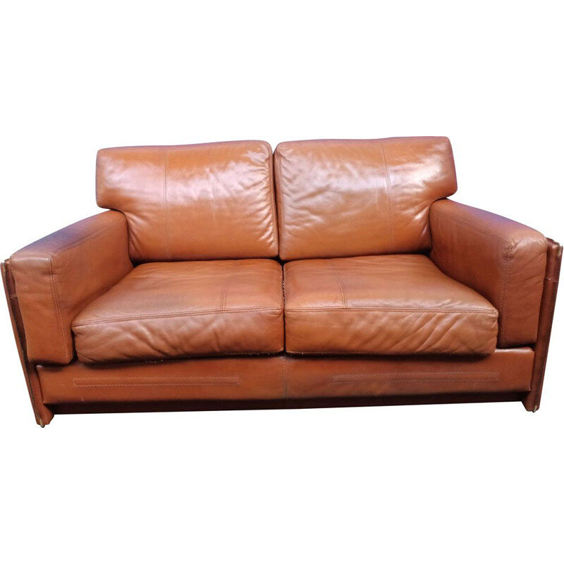 Vintage leather sofa by Baxter Miami