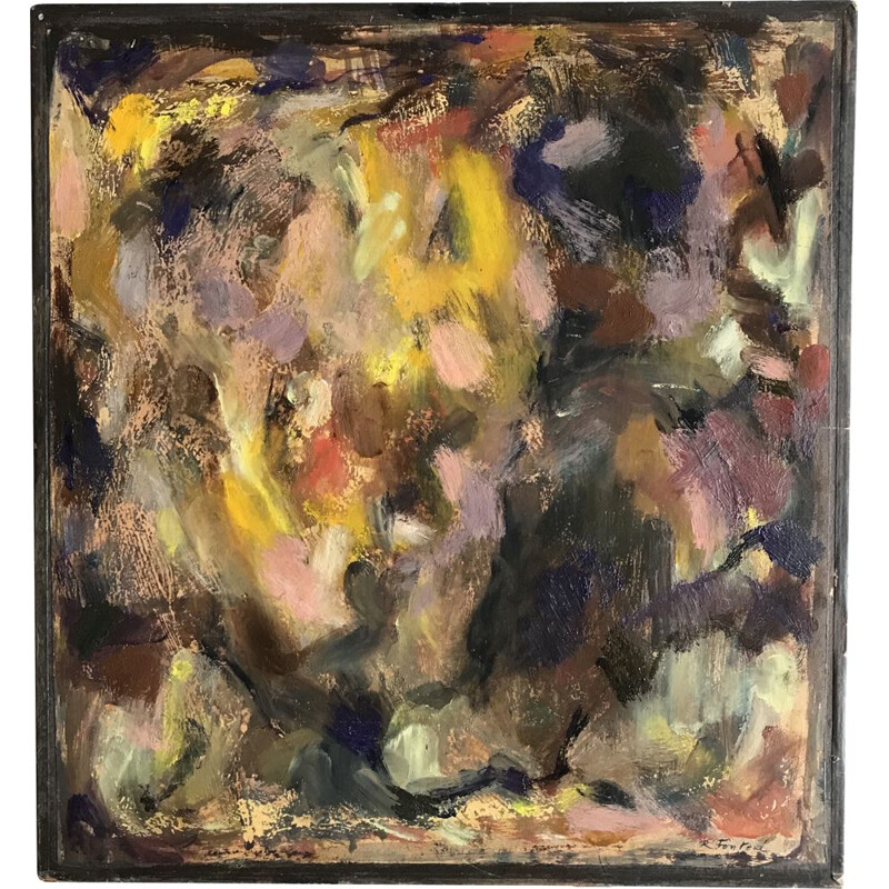 Vintage abstract painting by Robert Fontené, 1960
