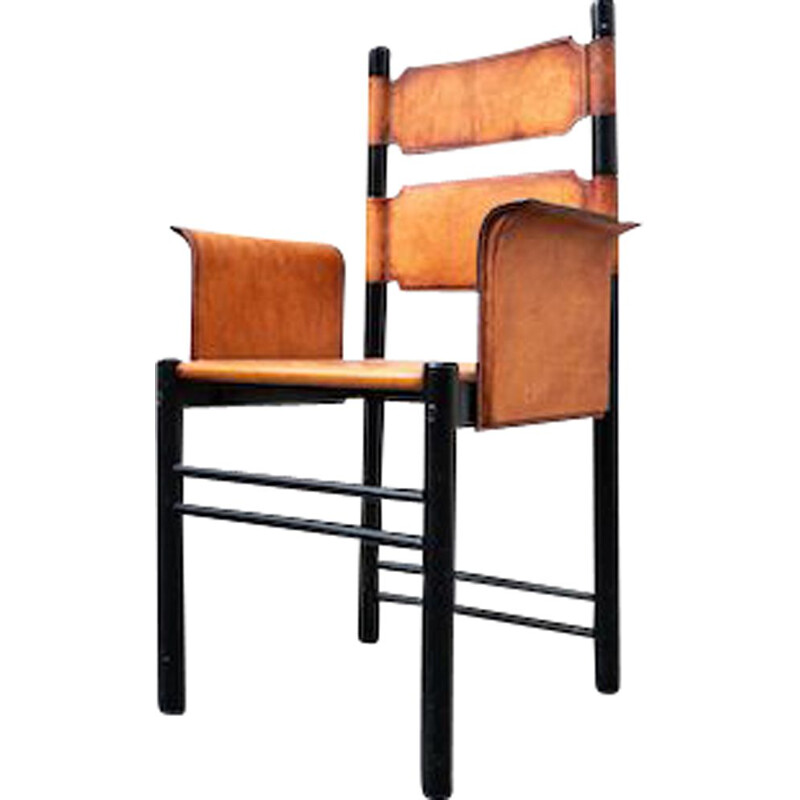 Mid-century Italian armchair in leather and wood, 1970s