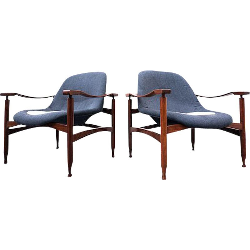 Pair of vintage blue armchairs in wood and fabric by Jorge Zalszupin, Brasil 1960s