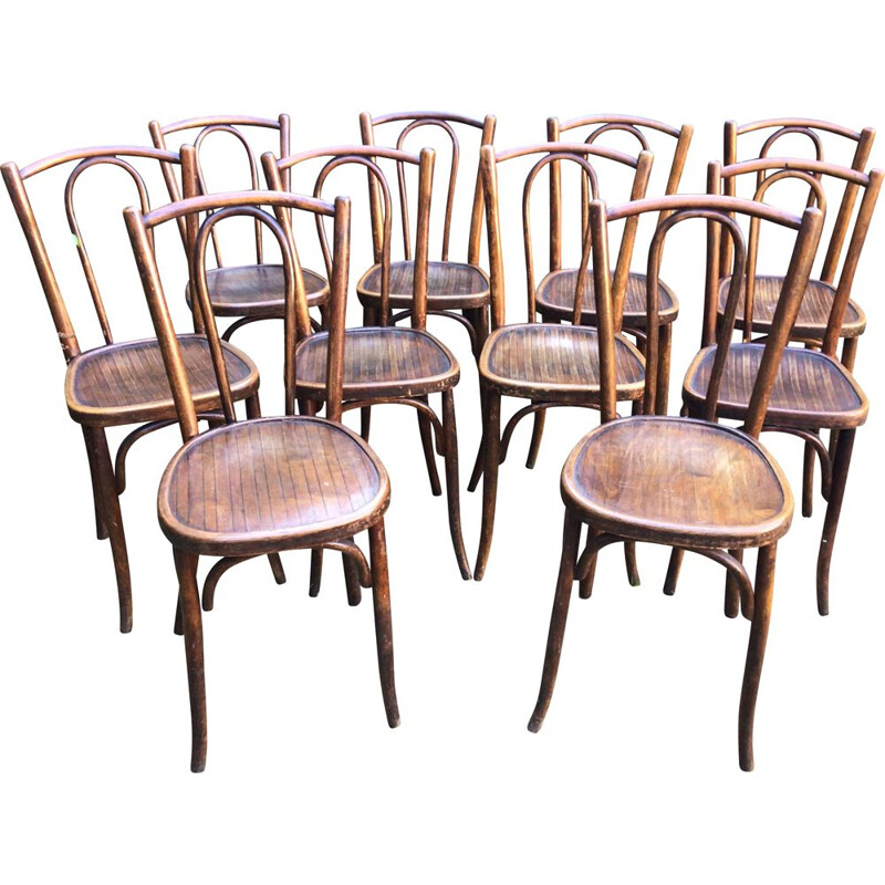 Set of 10 vintage bistro chairs by Japy, 1920-1930