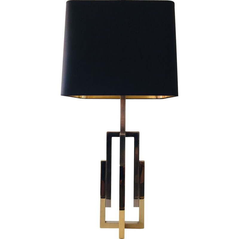 Vintage Hollywood Regency Majestic 2 tone brass table lamp by Willy Rizzo, 1970s