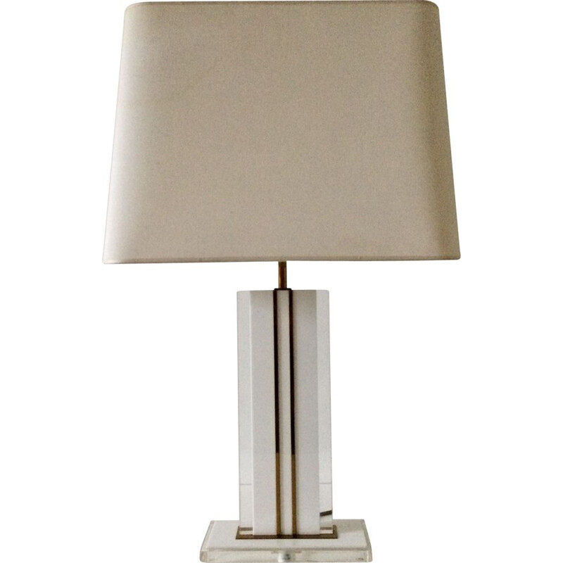 Mid century lucite & brass table lamp by Romeo Rega, Italy 1970s