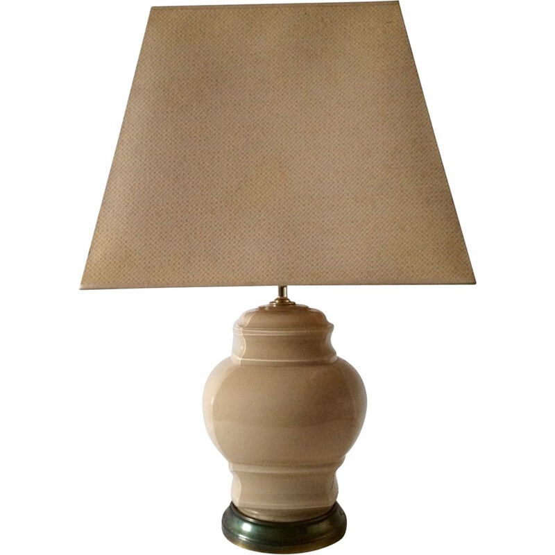 Vintage beige glass with brass base & shade table lamp, 1970s