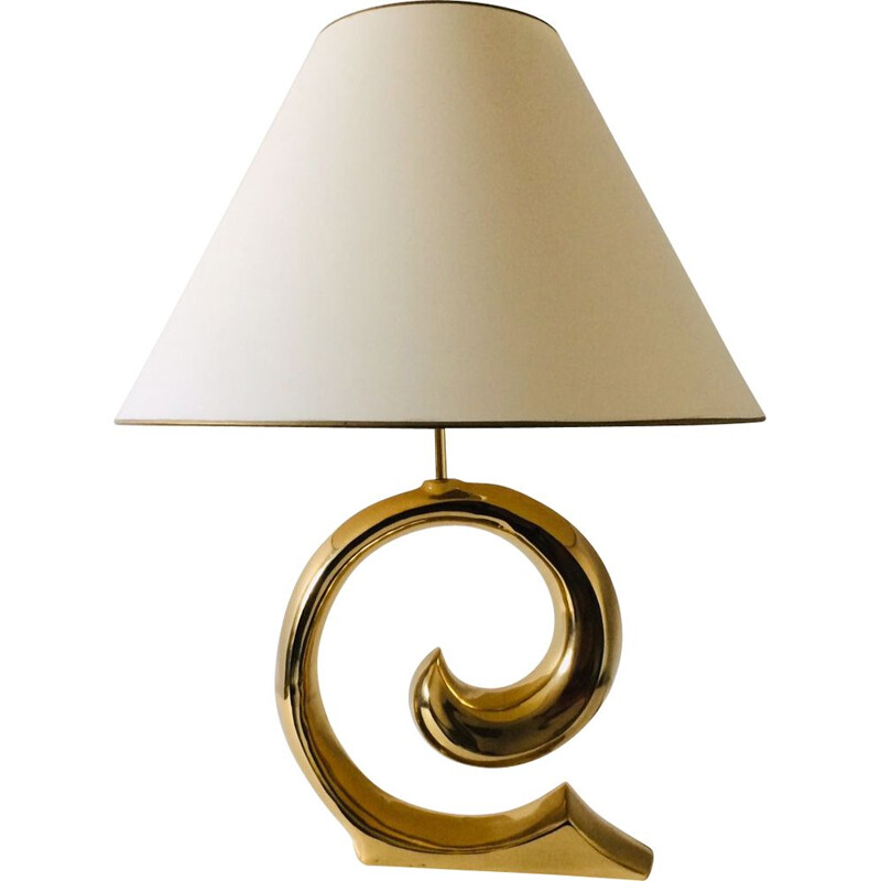 Vintage Hollywood Regency brass curl table lamp, Italy 1970s