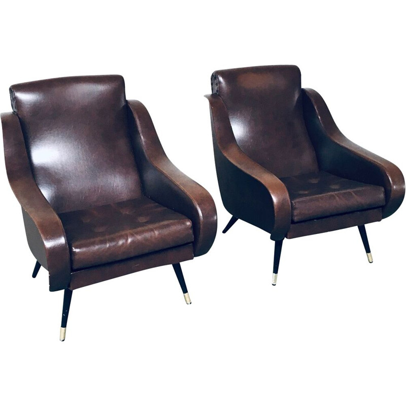 Pair of mid century brown leather armchairs, 1950s