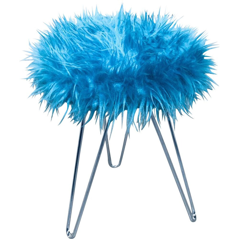 Vintage Funky electric blue hairy tripod stool, 1960s