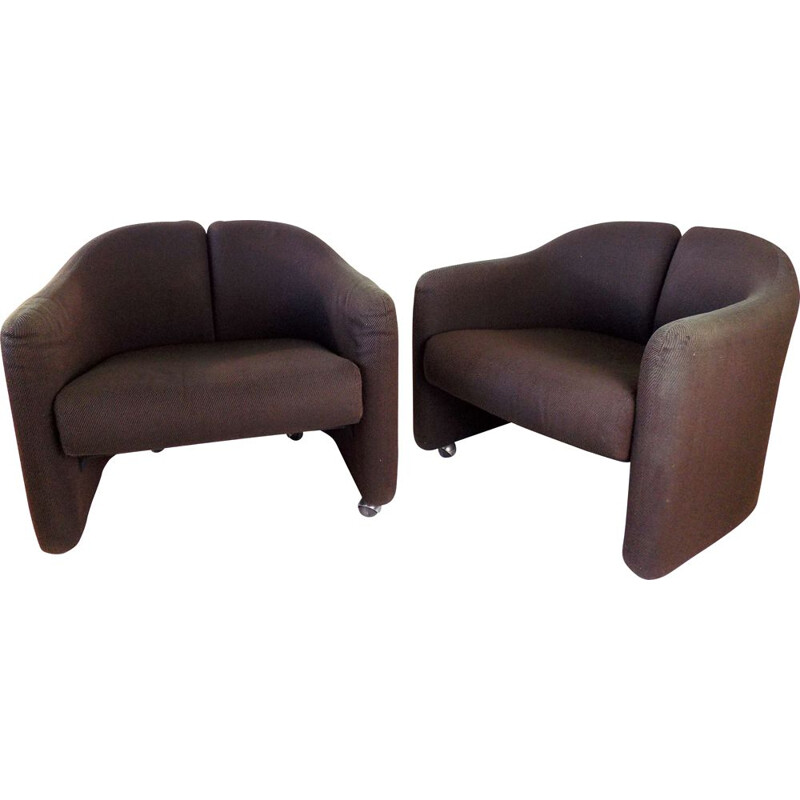 Pair of vintage Tecno Ps142 armchairs by Eugenio Gerli