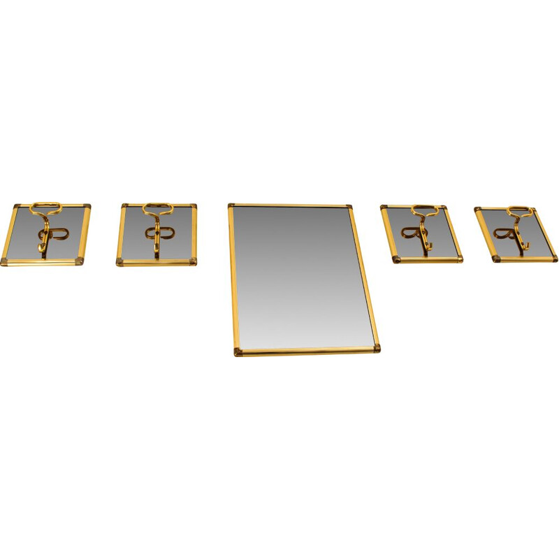 Vintage smoked glass mirror with 4 brass hangers, Italy 1970s