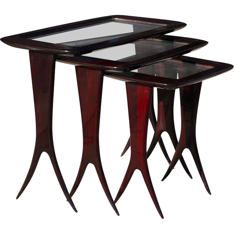 Vintage wood and glass nesting tables by Raphaël Raffel, 1950