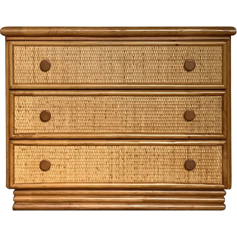Vintage rattan and bamboo chest of drawers for Roche Bobois, 1980