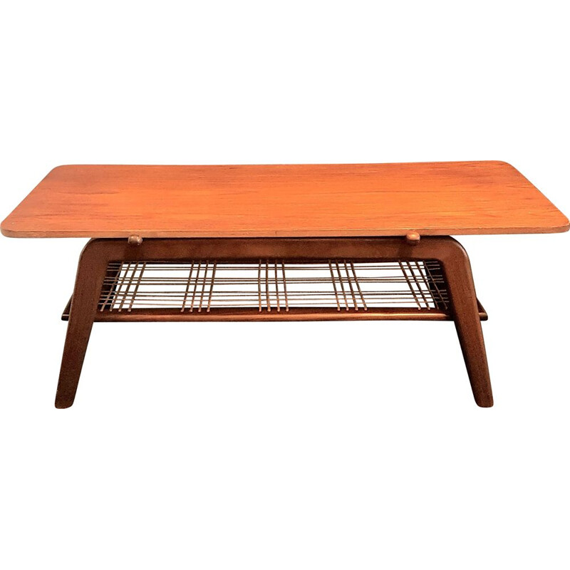 Vintage scandinavian coffee table with reversible top in teak and formica, 1950-1960s