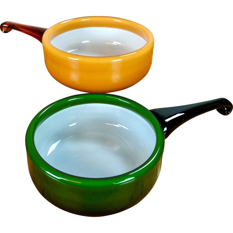 Pair of vintage bowls in glass by Michael Bang for Holmegaard, 1970s