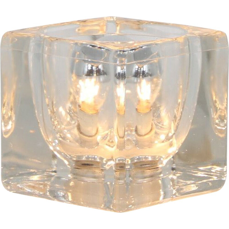 """Vintage glass """"ice cube"""" lamp by Putzler, Germany 1960s"""
