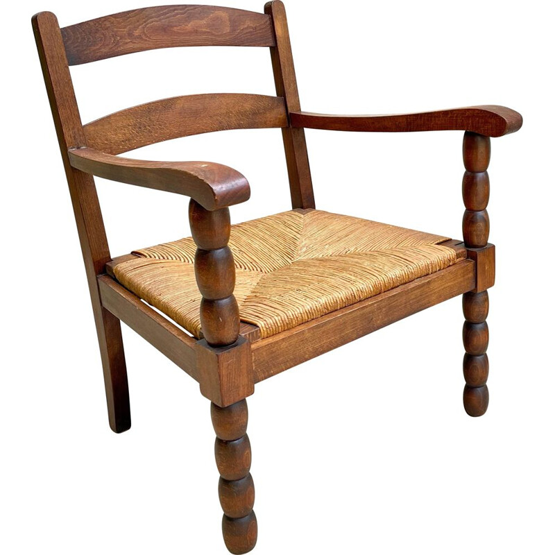 Vintage solid oakwood and straw armchair