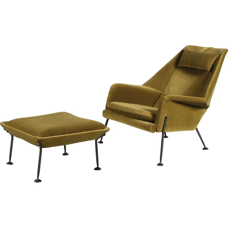 """Vintage """"Heron"""" armchair with ottoman by Ernest Race for Race Furniture, United Kingdom 1950"""