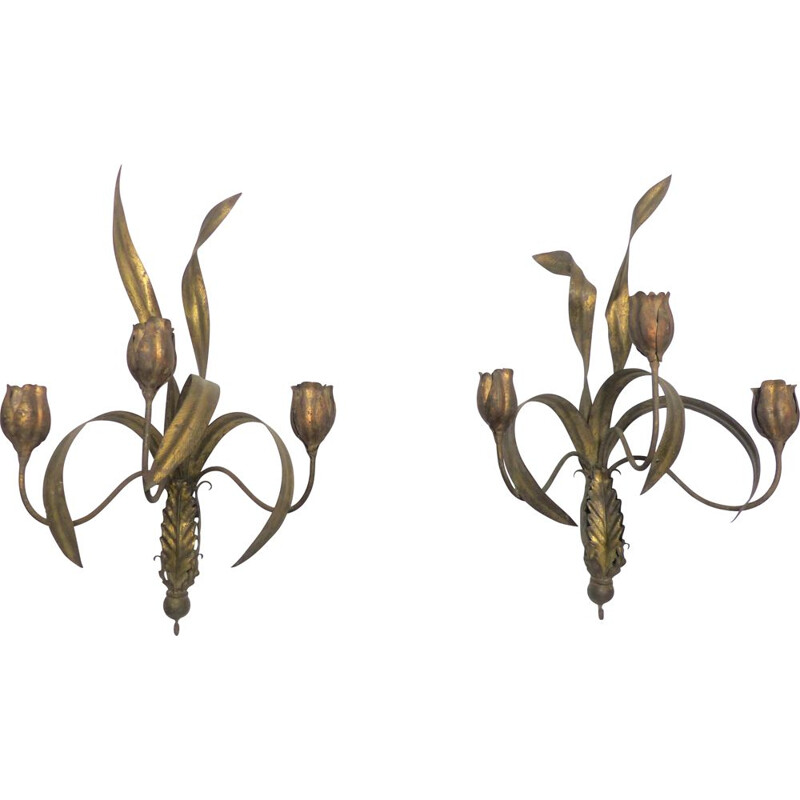 Pair of vintage wall lamps with foliage and tulips