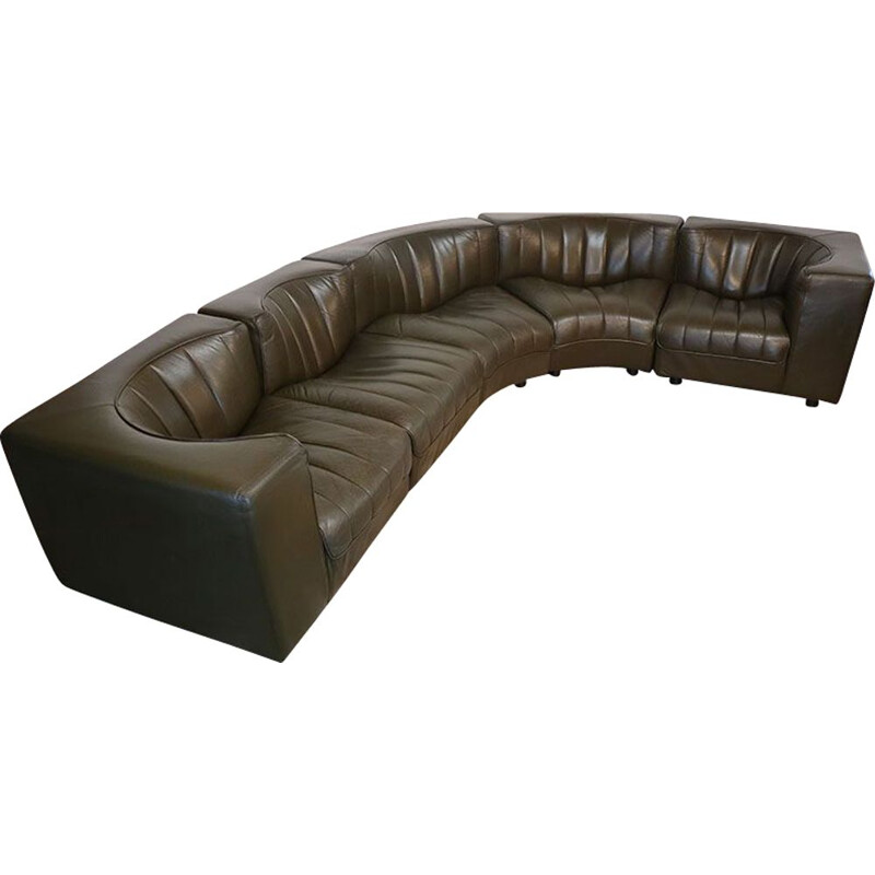 Modular vintage leather sofa by Tito Agnoli for Mobilier International, 1970