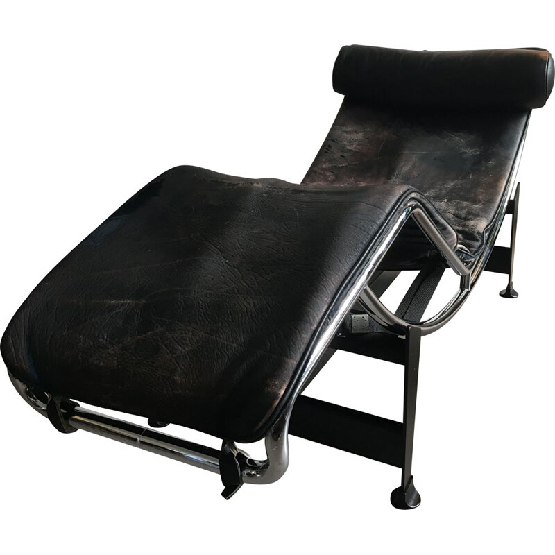 Vintage Cassina leather lounge chair by Le Courbier