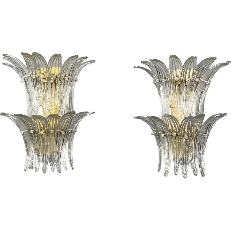 Pair of vintage Palmette wall lamps by Barovier & Toso, Italy 1970s