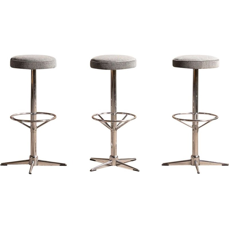 Vintage bar stool in blue-grey fabric with chrome steel legs