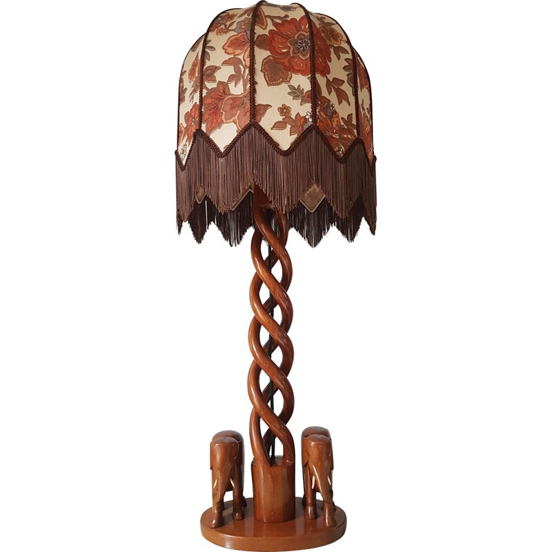 Vintage wooden table lamp with elephants and boho shade, 1970s