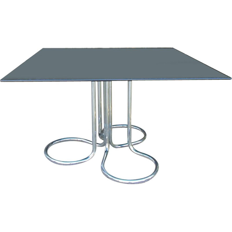 Vintage smoked glass table by Giotto Stoppino