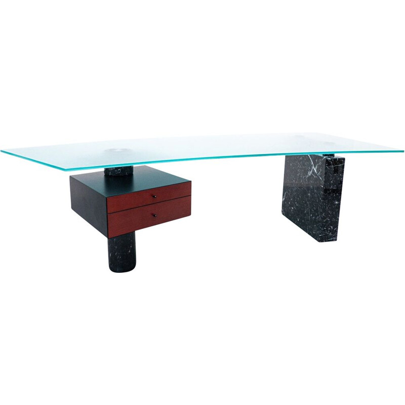 Mid-century black marble and glass desk by Peter Draenert, Germany 1970s