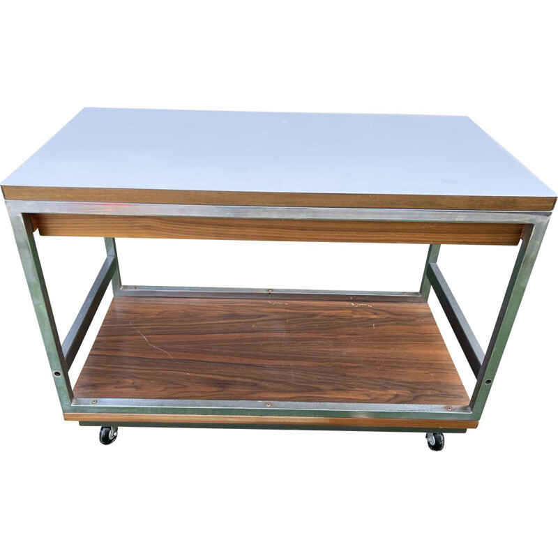 Vintage formica and metal coffee table on wheels by Boris Lacroix