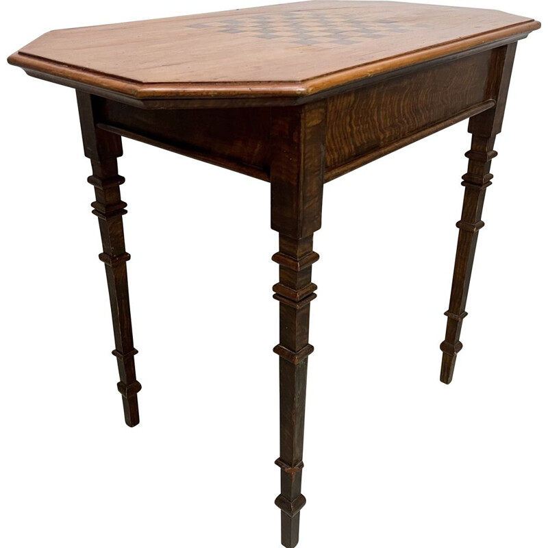 Vintage side table with chess board