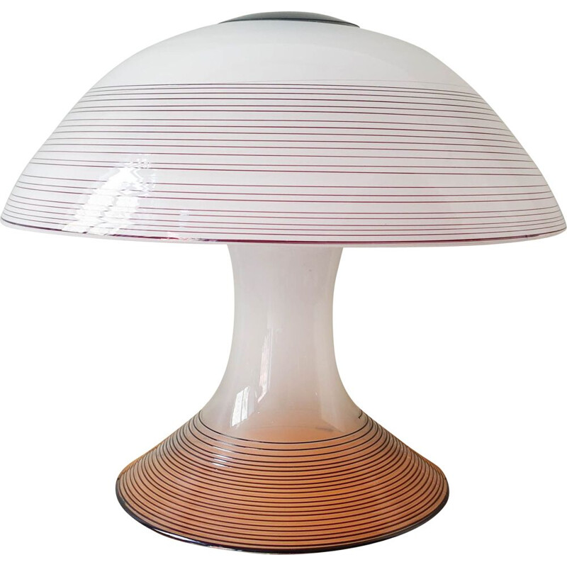 Vintage black & white Murano swirl glass table lamp by Renato Toso for Leucos, 1970s
