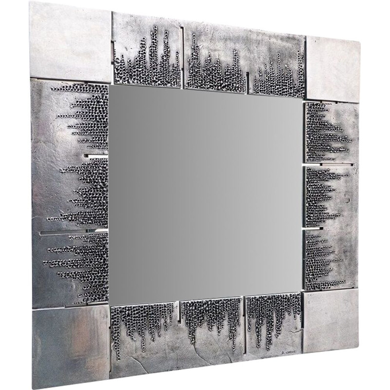 Mid-centuy sculpted metal mirror by Bianca Garinei, Italy 1970s