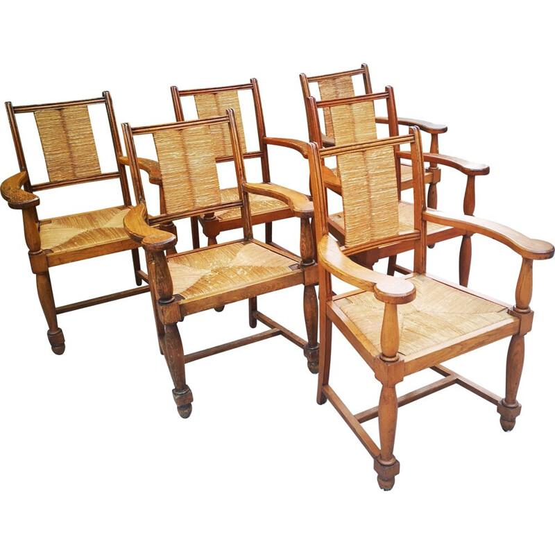 Set of 6 vintage solid oakwood and straw armchairs by Victor Courtrai, 1940