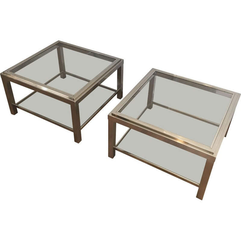 Pair of vintage chrome side tables with glass tops, 1970