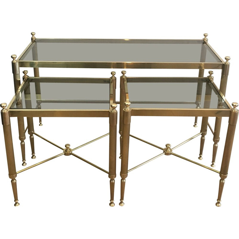 Vintage Tripartite brass and glass nesting table, 1970