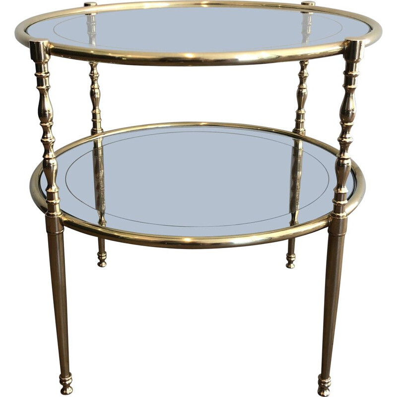 Vintage Tripartite brass and glass coffee table, 1970