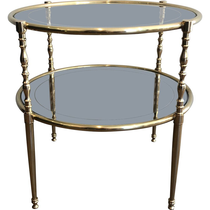 Round vintage brass pedestal table with glass tops surrounded by silver mirror, 1970