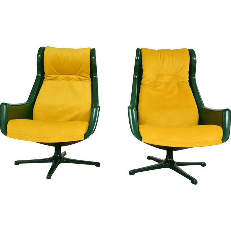 """Pair of vintage """"Space Age"""" swivel armchairs by Alf Svensson and Yngve Sandström for Dux, Sweden"""
