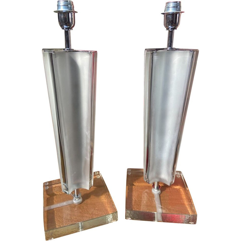 Pair of vintage lamps in Murano glass and chromed metal by Toso