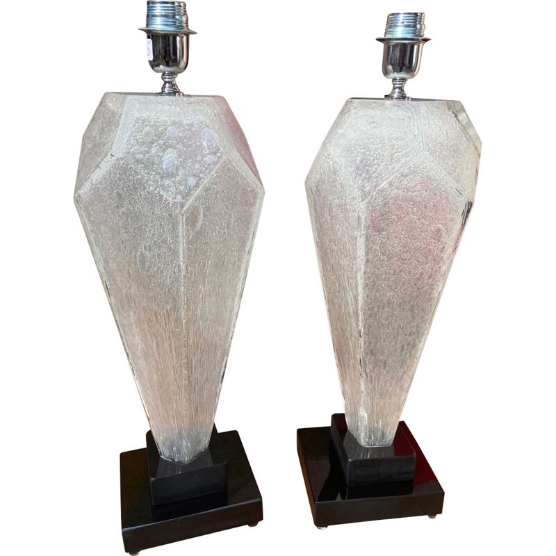 Pair of vintage Murano glass lamps by Toso, 1980