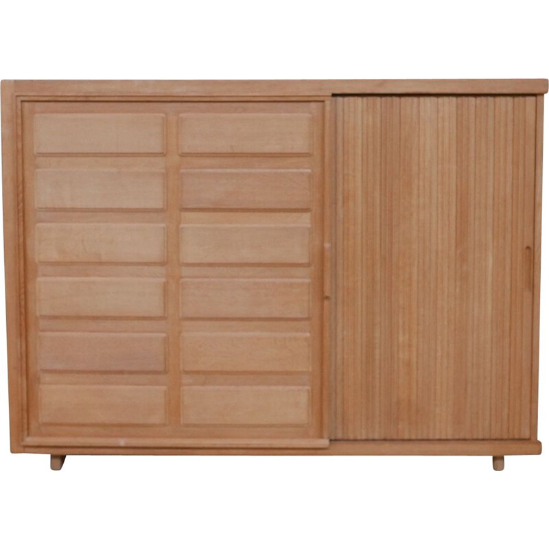 Oakwood mid-century cabinet with two sliding doors by Guillerme et Chambron, France 1960s
