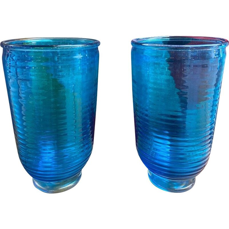 Pair of vintage Murano glass vases by Alberto Dona, 1980