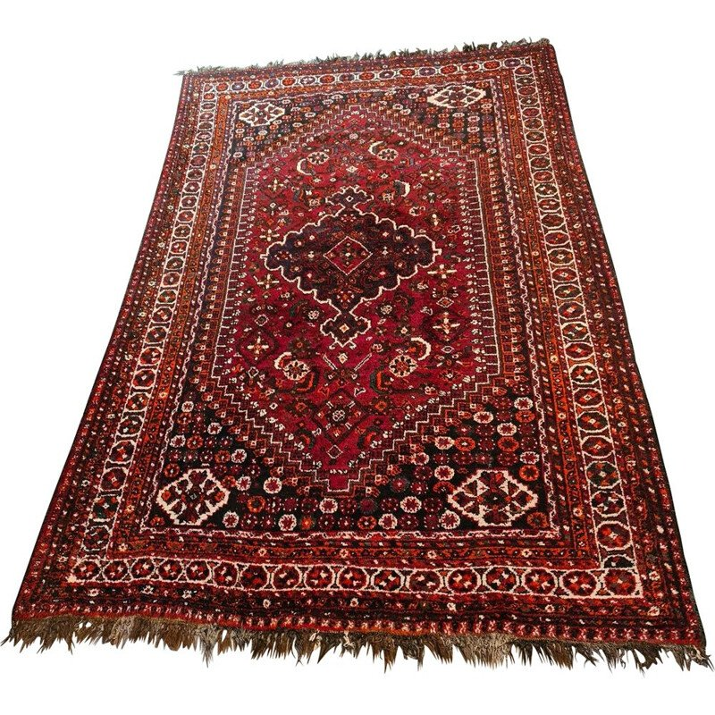 Vintage hand knotted wool Shiraz rug