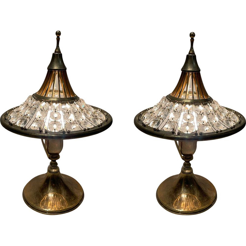 Pair of vintage crystal and brass table lamps, 1960s