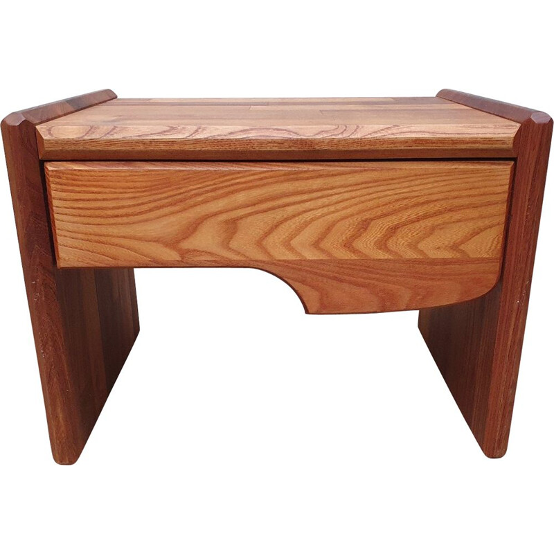 Vintage elmwood night stand by Pierre Chapo for Regain, 1972