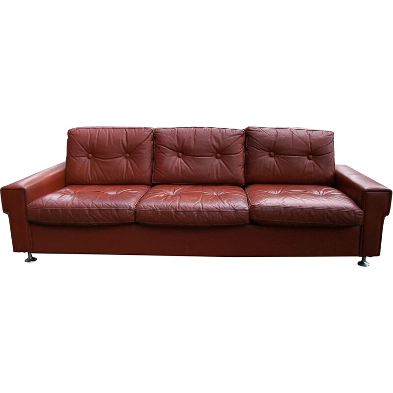 Vintage Danish 3- seater sofa in leather, 1970