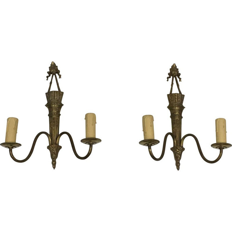 Pair of vintage bronze wall lamps, 1960