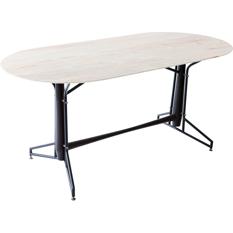 Italian vintage dining table with marble top and iron and wood frame, 1950s