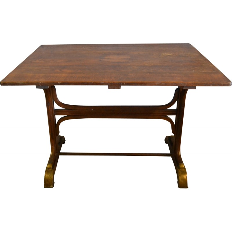 Mid Century Thonet Table In Wood And Brass   1930s