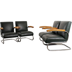"""Set of four """"S411"""" Thonet armchairs in dark green leather, THONET - 1960s"""